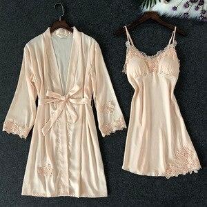Image 4 - ZOOLIM נשים הלבשת סקסי תחרה Robe & שמלת סטי שינה טרקלין Nightwear חלוק לילה שמלת חלוק פיג מה עם רפידות חזה