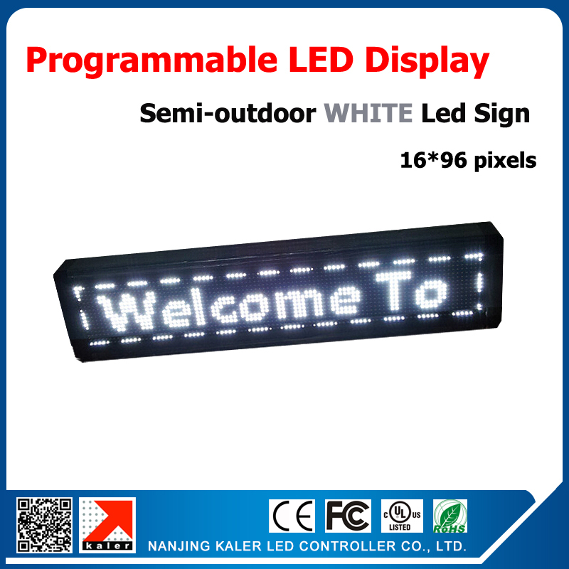 Haute luminosité blanc led texte signe p10 led 16 * 96 dot matrix blanc programmable et runnig message led displaysemi - en plein air