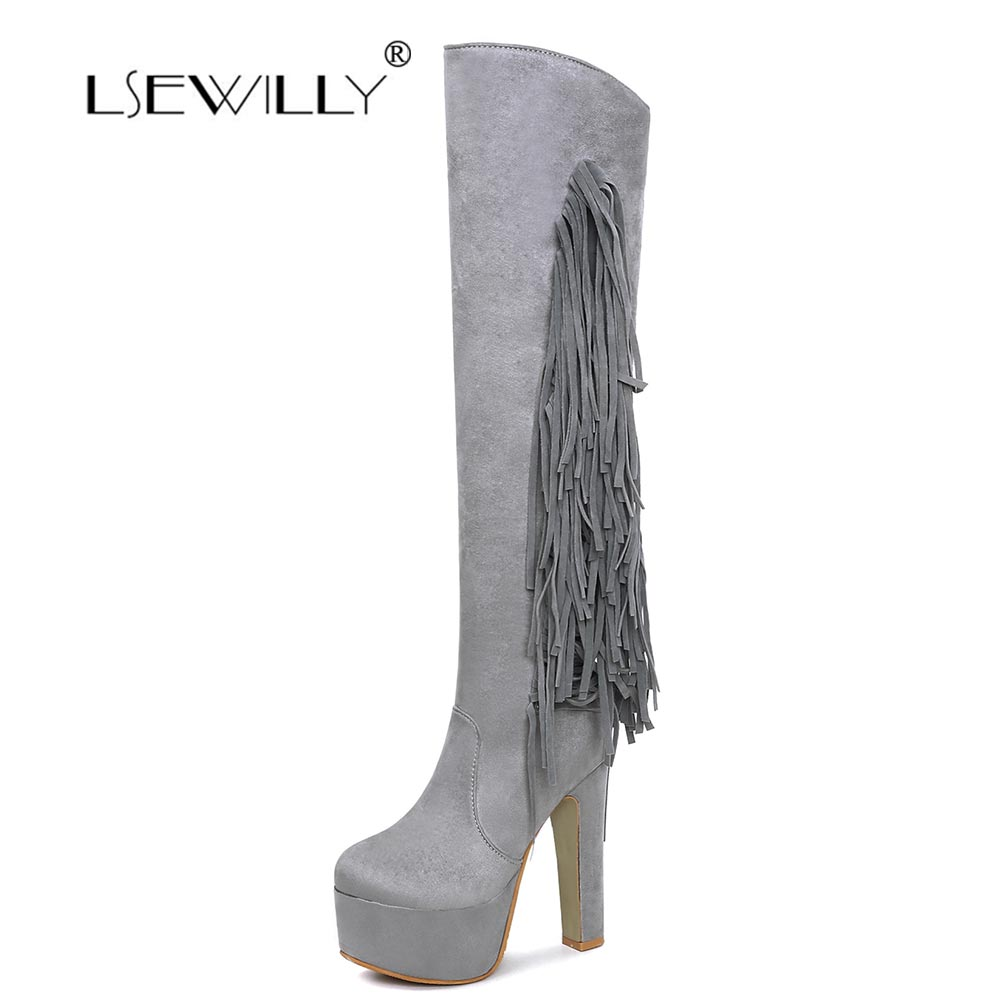 Lsewilly Women Fashion Boots Over The Knee Boots Thick High Heel Zipper Tassel Long Boots Platform Women Shoes Size 31-48 MY047 qiu dong in fashionable boots sexy and comfortable women s shoes the new national style high heel heel thick heel