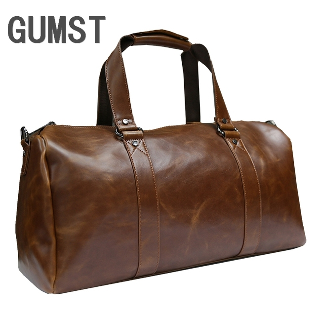1de1e2adc01 GUMST New Men Travel Duffle Bag PU Leather Men's Travel Bags Shoulder  Handbag Round Bucket Shape