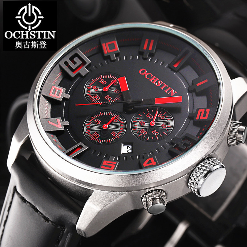 OCHSTIN 2016 Fashion Sports Watches Mens 3D Face Military 30m Watterproof Chronograph Date Quartz Mens Army Leather Wristwatches