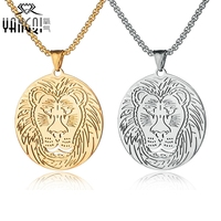 Hiphop Rock Silver Stainless Steel Chain Necklaces Gold Color Beast Lion Pendant Necklace Men Party Gift