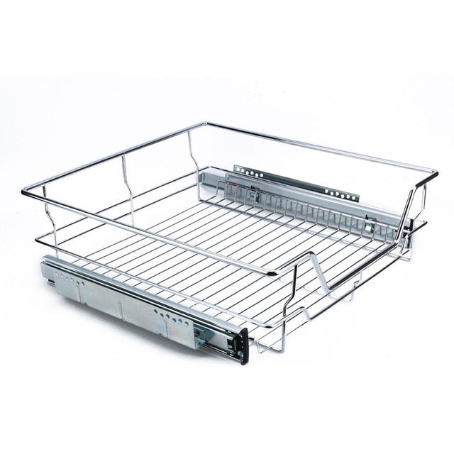 500mm Kitchen Sliding Cabinet Organizer Pull Out Chrome Wire Storage Basket Drawer Max Loading 20kg