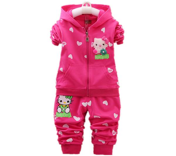 Crianças conjuntos de roupas de moda primavera & outono 2 pcs define skirt suit hello kitty bebê meninas define vestuário hoodies + calças tamanho: 0-4years