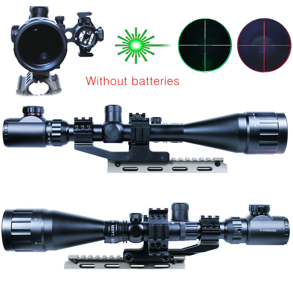Tactical Riflescope 6-24x50 AOEG Green Red Dot & GREEN Laser Sight Combo Reticle Airsoft Holographic Rifle Scopes Sight Hunting 3 10x42 red laser m9b tactical rifle scope red green mil dot reticle with side mounted red laser guaranteed 100%