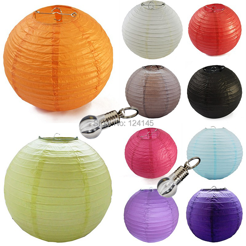 10 pcs/lot 6 inch(15cm) Chinese Paper Lantern Lamp Lanterns Random Color + Led Keyring Bulbs Wedding Party Home Decoration Supplies - Favor gifts store