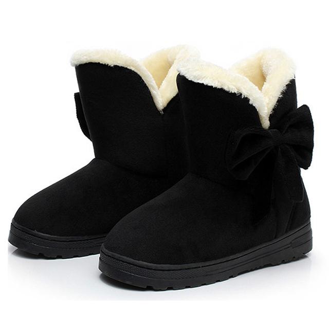 Women Snow Boots Winter Female Ankle Boots Warmer Plush Bowtie Fur Suede Rubber Flat Slip On 2019 Fashion Platform Ladies Shoes