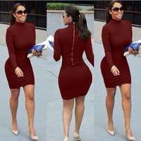Fashion Womens Dresses New Arrival 2016 Sexy Red Wine Gray Black Long Sleeve Turtleneck Sheath Zippers