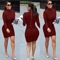 Fashion womens dresses new arrival 2016 sexy Red wine gray black long sleeve turtleneck sheath zippers mini bandage dress