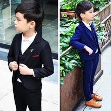 Kids Blazer Suit 2019 Boys Suits for Weddings Vest + Pant Formal Korean Jacket Boy Birthday 2-10Y