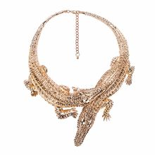 Design Exaggerated Punk Full Rhinestone Crocodile Necklace for Women Fashion Trend Statement Necklace Collar Bijoux Avengers(China)