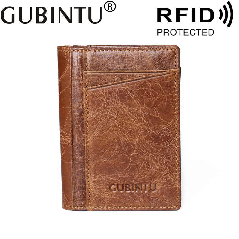 GUBINTU Brand Men Card Holder RFID Blocking Protect Cards Wallet Genuine Leather Wallets Male Credit Card Business Card Holder