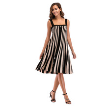 Skinny Dress Big Code Womens Dew Back Striped Buckle Knitted Pendulum Sleeveless  A-Line Summer Spaghetti Strap