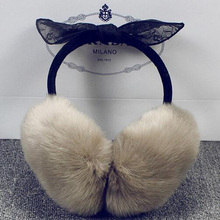 new  earmuffs  pretty model cute hotter women and men autumn and winter lace bow ear shield ear heat fur cowl