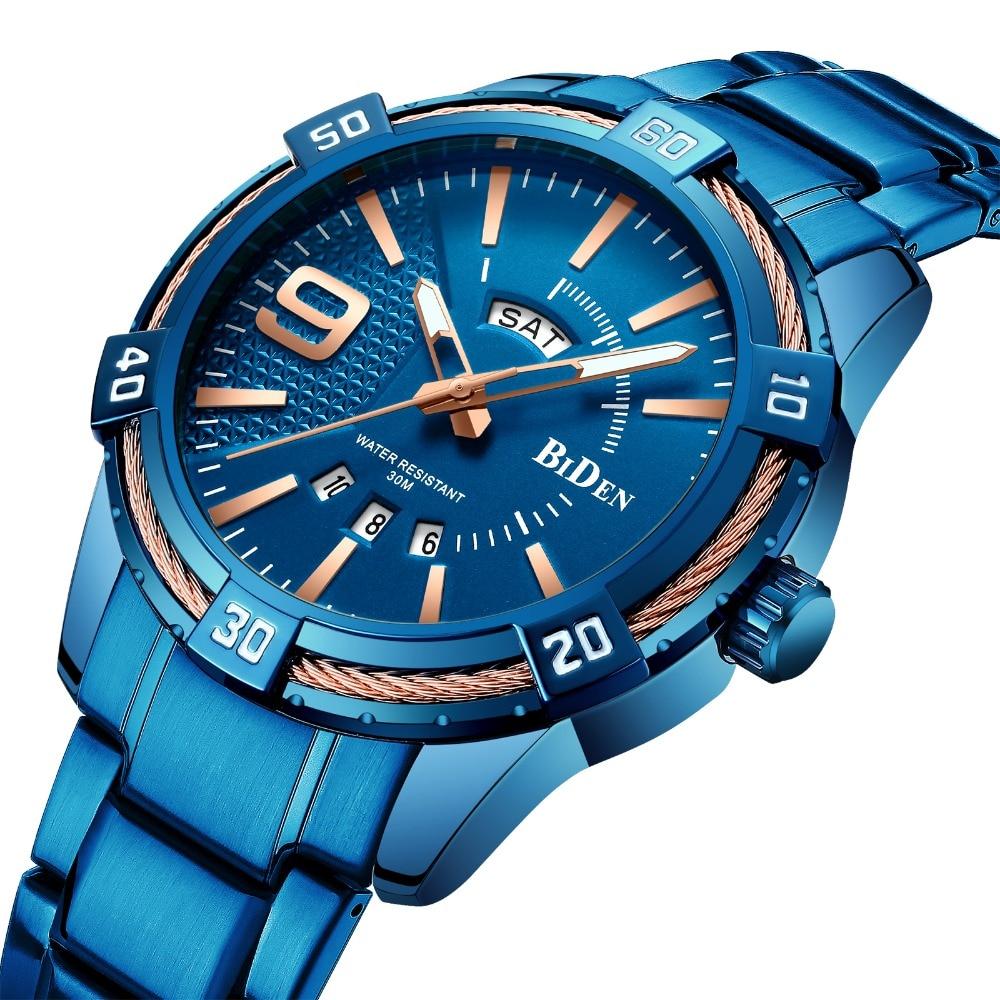 2019 de los hombres de moda reloj de cuarzo azul correa de acero inoxidable fecha semana Casual relojes para hombre marca de lujo reloj analógico