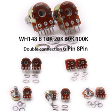 Glyduino WH148 B10K 20 К 50 К 100 К Двойное Подключение 6 8 контактов линейный потенциометр пот Одноместный соединение для arduino
