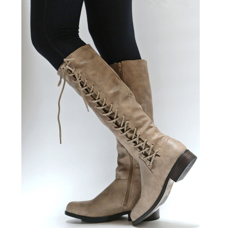 Classic Mid Heel Leather Cowboy Women Boots Zipper Side Open Retro Autumn Boots Lace Up Knee High Boots Shoes Woman Botas Mujer 2018 mid heel grey black leather cowboy women boots retro autumn winter boots lace up knee high boots shoes woman botas mujer