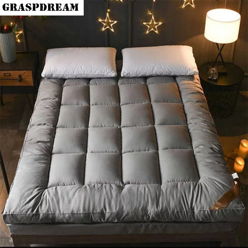 100% Superfine Fiber Mattress Home Hotel Quality Cotton Mattress Pad Plush Durable Feather Bed Topper King Queen Twin Full Size