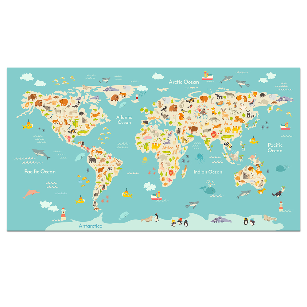 US $17.04 50% OFF|Visual Art Decor World Map Animal Canvas Wall Art Typical  Animals on Continent Map of the World Canvas Prints Educational Poster-in  ...