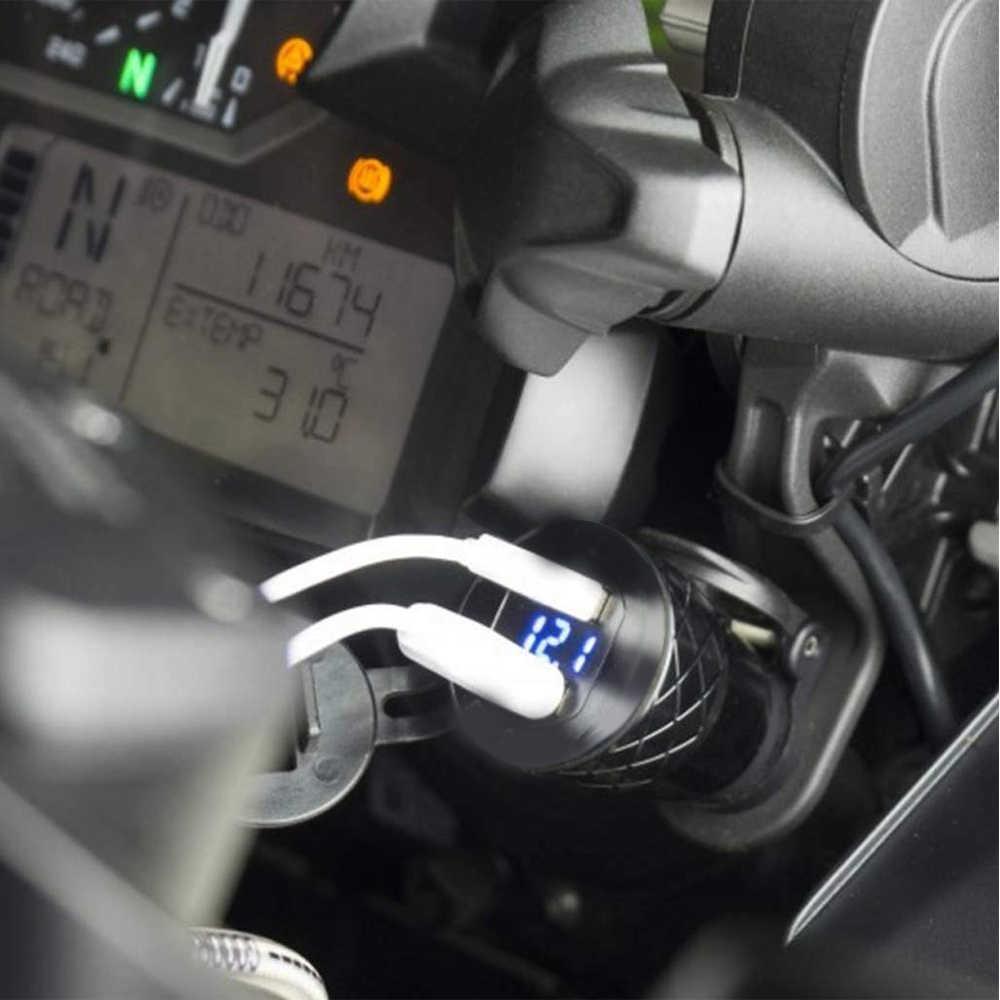 Cargador rápido 3,0 Dual USB caja de enchufe de cargador de motocicleta encendedor de cigarrillos adaptador de pantalla LED para BMW F800GS R1250GS R1200GS