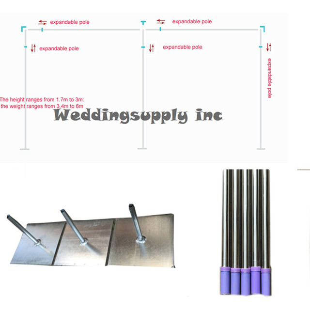 Wedding Backdrop Frame 3x6m Stand Expandable Rods Pipe 3m High By 6m