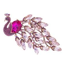 Crystals Peacock Brooch