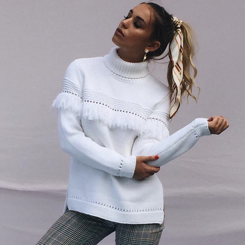 6bbcb70885 Autumn Winter Sweaters Turtleneck Sweater Pullover Fashion Hollow Out  Fringe Knitted Sweater Knitwear Ladies Knit Jumper White