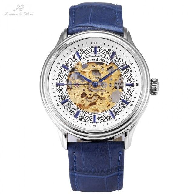 690f82e92e0 KS Real Mens Relógios Top Marca de Luxo Oco Horloge Auto Vento Relógio com  Pulseira de