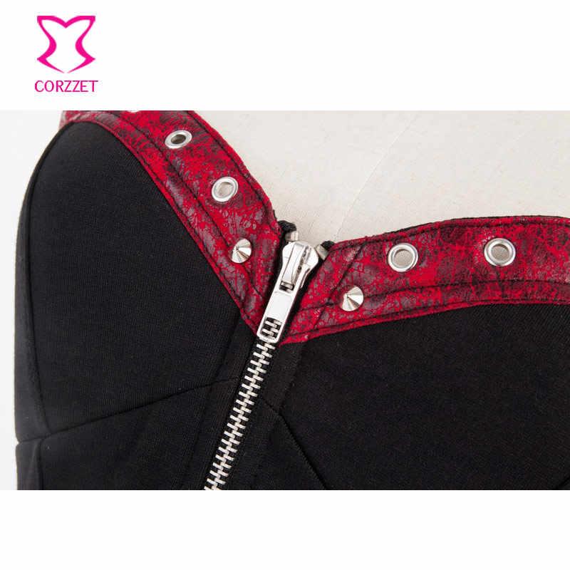 Burlesque gótico rojo cuero remache negro Denim cremallera frontal Halter Overbust Sexy corsé Top Steampunk corseet Korsett para mujer