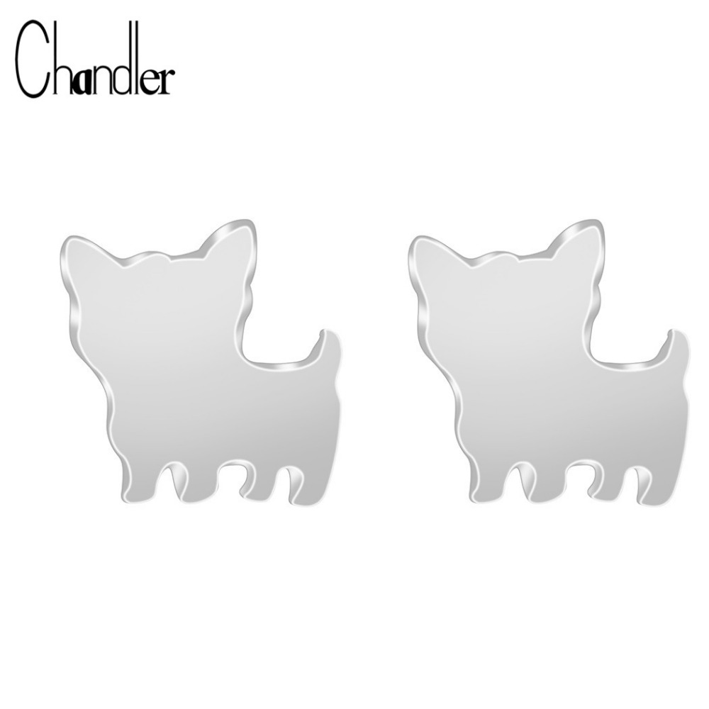 Gold Silver Plated Cute Yorkshire Stud Earrings For Women Girls Animal Dog Party Accessaries Gift Fashion Jewelry Drop Shipping