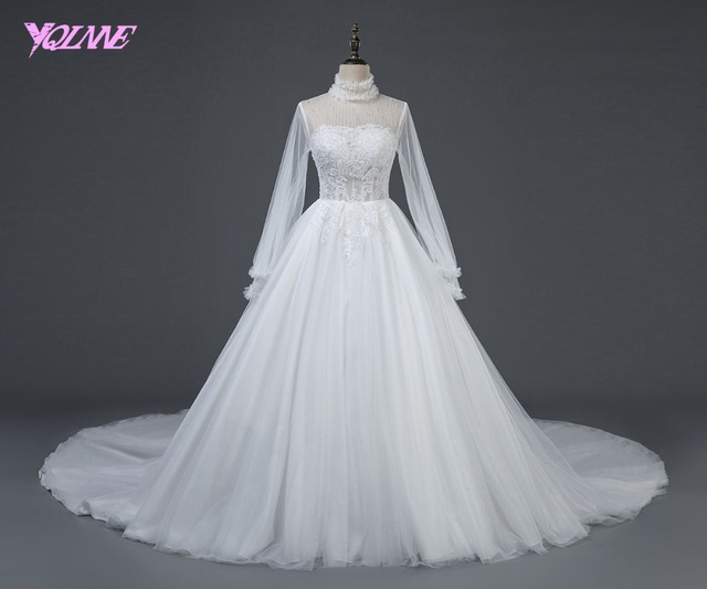 YQLNNE 2018 Long Sleeve Wedding Dress Ball Gown High Neck Beading Tulle Zipper Back Bridal Dresses