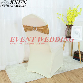 100pcs Lot Sequin Chair Band Lycra Spandex Chair Sash Tie Bow Include Buckle For Banquet Wedding  Chair Cover Decoration