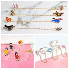 Chain Cartoon pins Stationery Marvel Fun Fat Hero Brooches Badges Bag Clothes Enamel pins Gifts For Friends Jewelry wholesale(China)