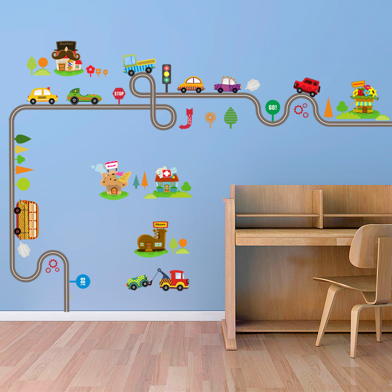 Cartoon Car Bus Highway Track Wall Stickers For Kids Rooms Childrens Bedroom Living Room Decor Art Decals Boys Gift