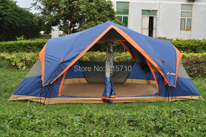 Outdoor big quick open tent!Fully automatic Two hall 6-8 person double layer camping tent/against big rain large family tent 3 4 person outdoor camping tent double layer quick open install tent waterproof 230x210x140cm