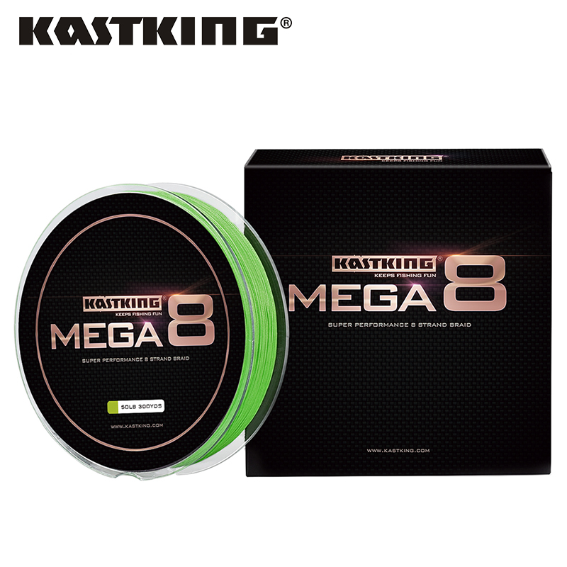 KastKing Mega8 New Braid Line 300Yds 274M 0.14 0.50mm 10 80LB 8 Strands Super Strong Green Braided Fishing Line for Sea Fishing