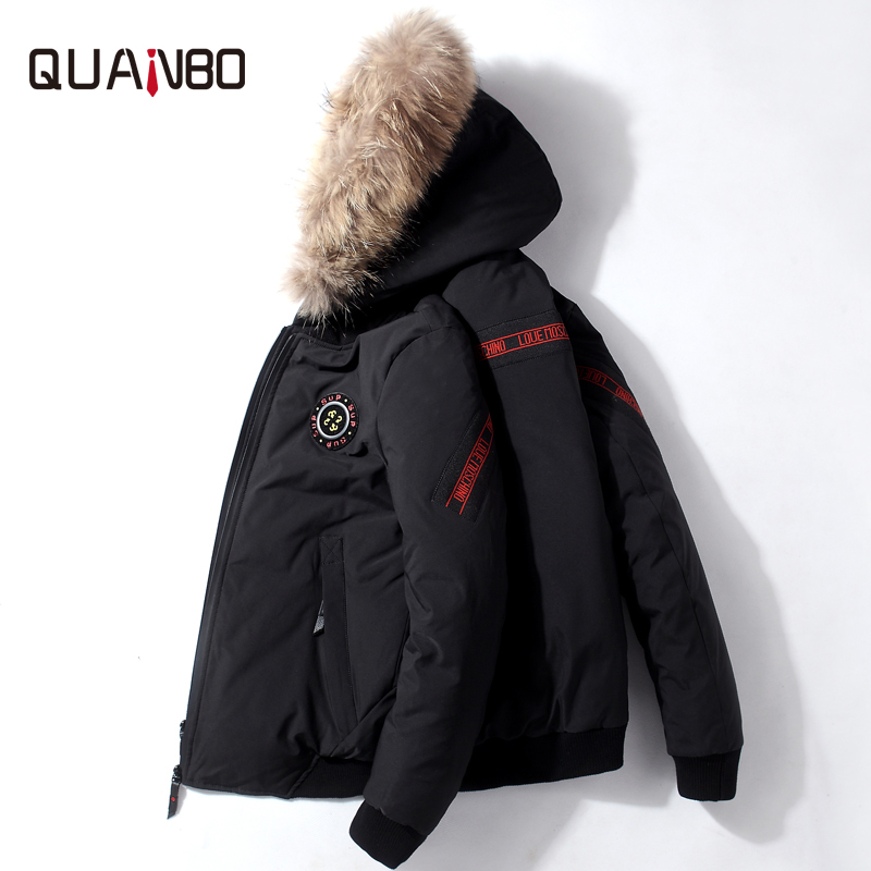 QUANBO 2019 New Winter Warm   Down   Jacket Men 90% White duck   down   Fashion Short   Down     Coats   High Quality Hooded Thicken Parkas