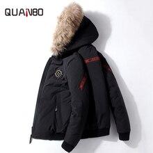QUANBO 2019 New Winter Warm Down Jacket Men 90% White duck