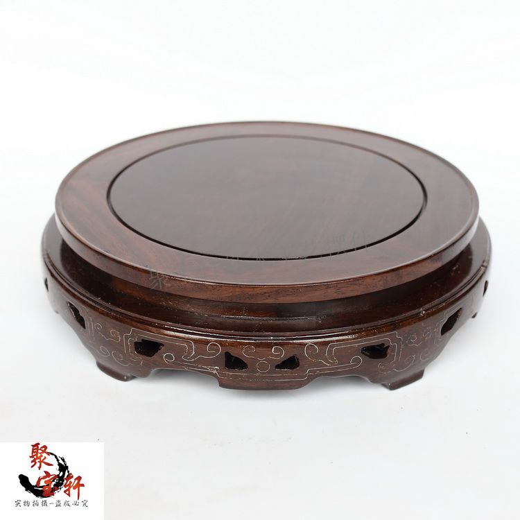 Black catalpa wood real wood carving handicraft household act the role ofing is tasted furnishing  flowerpot circular base