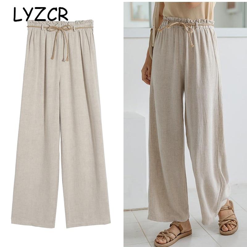 LYZCR Summer Cotton Line Women's   Wide     Leg     Pants   Loose High Waist Line   Pants   For Women Casual Elastic Trousers Women 2019