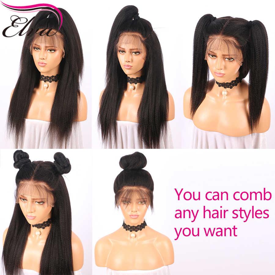 Странный Прямо 13x6 Синтетические волосы на кружеве человеческих волос парики с ребенком волос предварительно сорвал волосяного покрова бразильский Волосы remy 150% плотность волосы ELVA