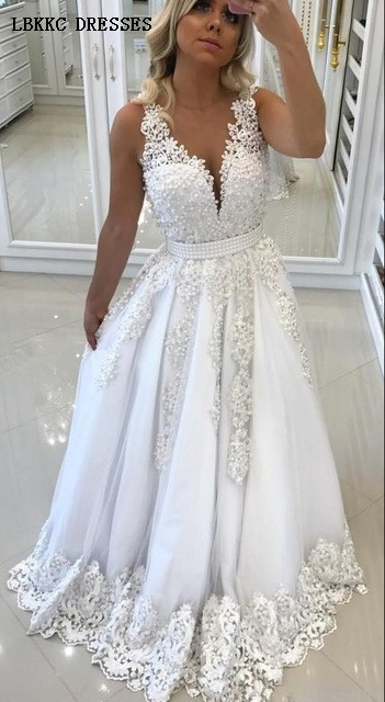 White Lace Appliques Pearl   Prom     Dresses   2019 Deep V Neck Sleeveless Evening   Dress   Backless Beaded Vestidos De Gala Formal   Dress