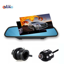 Online /Car electronics 5 inch HD LCD Rear View Mirror Monitor 2 Video Input 800*480+360 degree rotation Car CCD rearview camera
