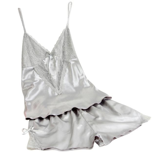 Women Sexy Silk Sleeveless Suspenders Lingerie Set