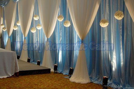 Wedding Backdrop Sky Blue Back Curtain With White Swag Wedding Decoration