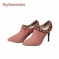 Stylesowner Black Pink Lady Elegant Nude Boots Ankle Flower Studded 9cm Thin Heel Sexy Short Boots Woman Real Leather Bota Shoe