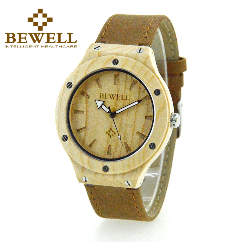 BEWELL Hot Sell Wood Luxury Brand Leather Strap Quartz Male Relogio Quartz Clock Wrist Watches For Man Moment Montres Homme 121A|watch brand|watch for|watches for men - title=