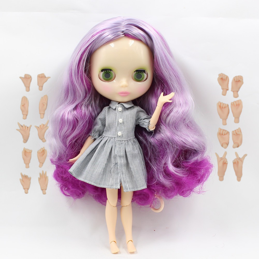 все цены на Free shipping joint body nude doll 260BL732/1049 purple mix VIOLET hair, centre parting, wavy hair, nude blyth doll онлайн