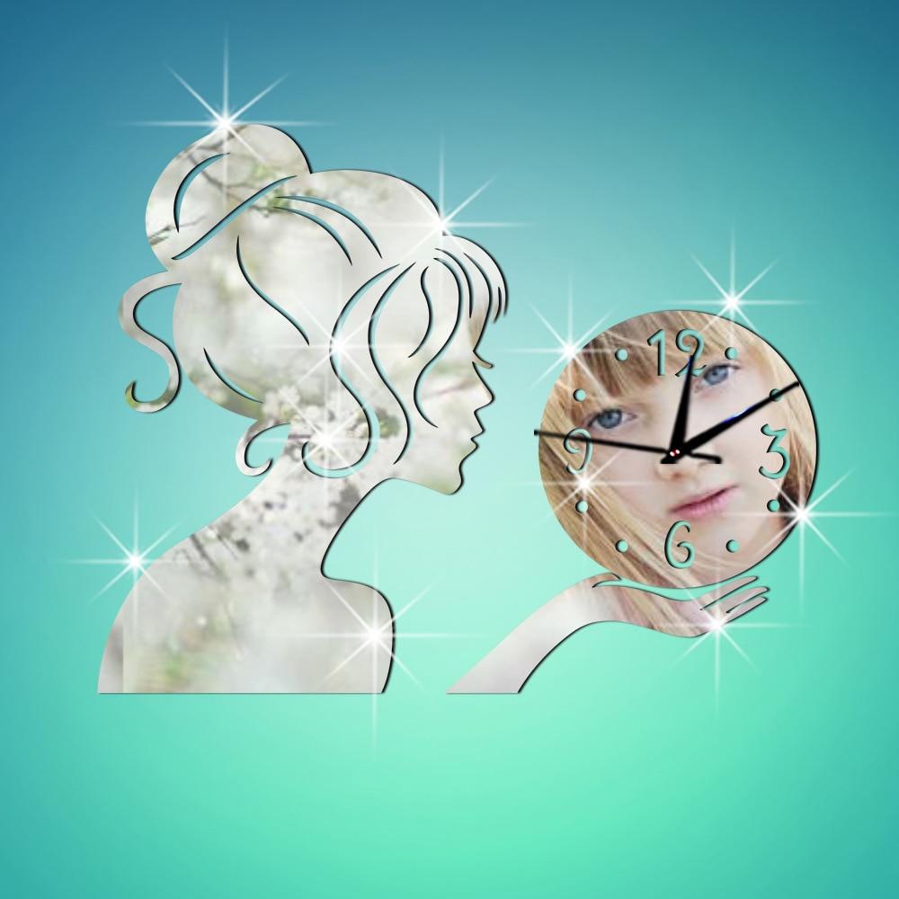 # S настенные часы на стене оригинальность Мода Технология зеркало девушка зеркало наклейки Clocksandwatches стены наклейки