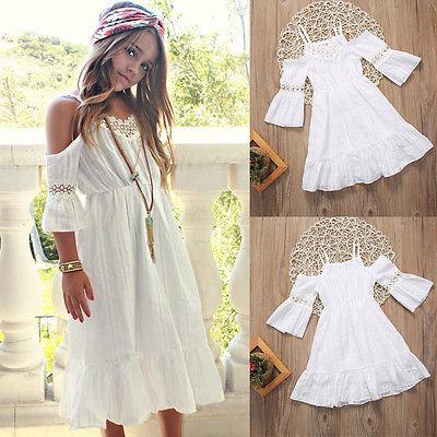 Cute Girl Kids Princess Vintage Lace Off Shoulder Dress White Short Sleeve Strap Wedding Party Pageant Dresses Beach Clothes Платье
